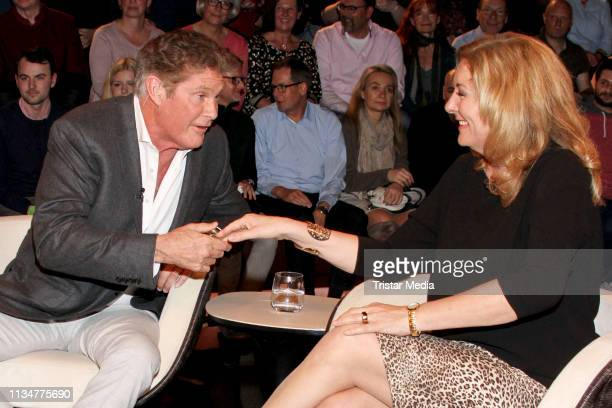 US actor David Hasselhoff and German presenter Bettina Tietjen during the Markus Lanz TV show on April 3 2019 in Hamburg Germany