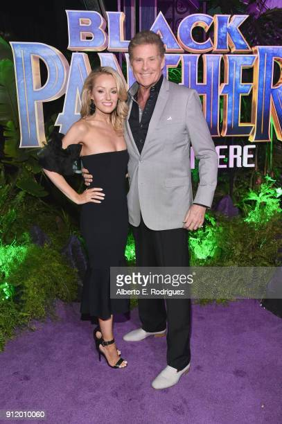 Actor David Hasselhoff and Hayley Roberts at the Los Angeles World Premiere of Marvel Studios' BLACK PANTHER at Dolby Theatre on January 29 2018 in...