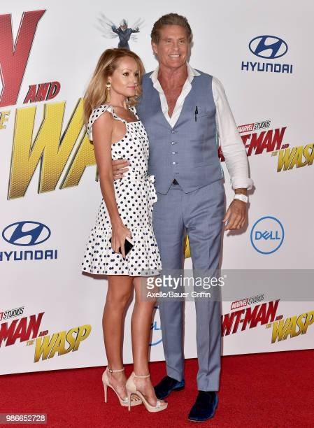 Actor David Hasselhoff and Hayley Roberts attend the premiere of Disney and Marvel's 'AntMan and the Wasp' at El Capitan Theatre on June 25 2018 in...