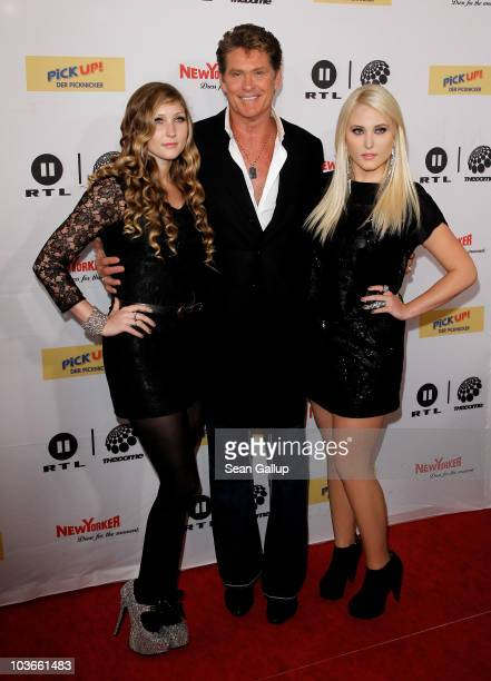 Actor David Hasselhoff and his daughters Taylor Ann Hasselhoff and Hayley Hasselhoff attend The Dome 55 on August 27 2010 in Hannover Germany