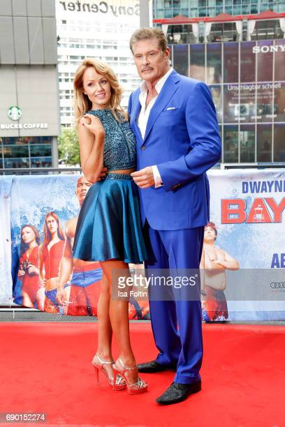 US actor David Hasselhoff and his partner Hayley Roberts attend the 'Baywatch' Photo Call in Berlin on May 30 2017 in Berlin Germany