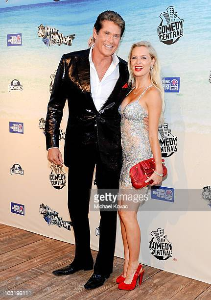 Actor David Hasselhoff and singer/model/actress Anouska De Georgiou arrive at the Comedy Central Roast Of David Hasselhoff held at Sony Pictures...