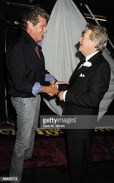 "Actor David Hasselhoff and television personality Jerry Springer attend the musical ""Chicago"" at the Cambridge Theatre on July 2, 2009 in London,..."