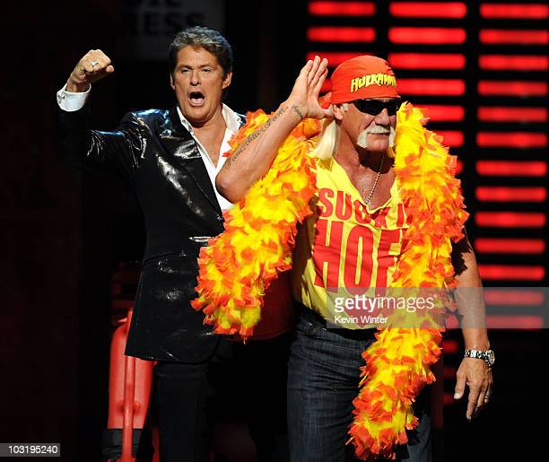 Actor David Hasselhoff and wrestler Hulk Hogan cheer onstage at the Comedy Central Roast Of David Hasselhoff held at Sony Pictures Studios on August...