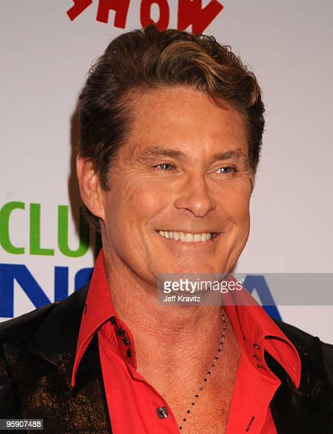 Actor David Hasselhoff arrives at The Peewee Herman Show Los Angeles Opening Night at Club Nokia on January 20 2010 in Los Angeles California
