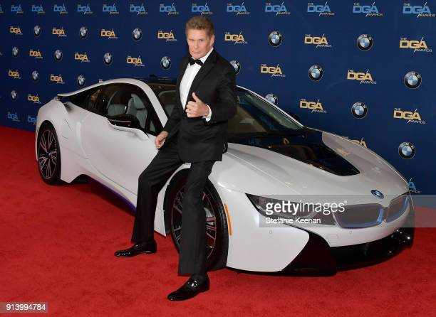 Actor David Hasselhoff arrives in a BMW to the 70th Annual Directors Guild of America Awards at at The Beverly Hilton Hotel on February 3 2018 in...