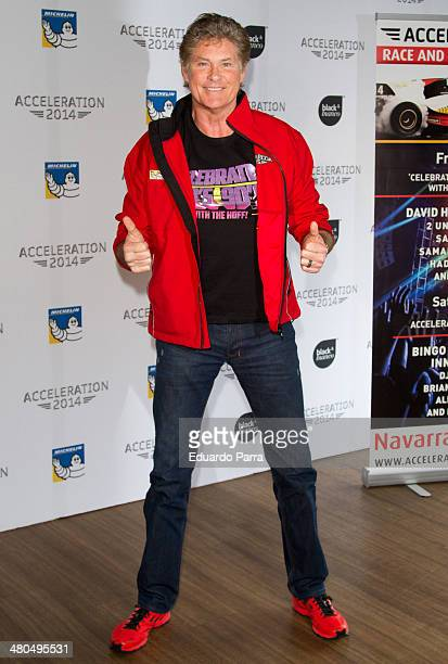 Actor David Hasselhoff attends a photocall of the Acceleration Festival at Oscar hotel on March 25 2014 in Madrid Spain