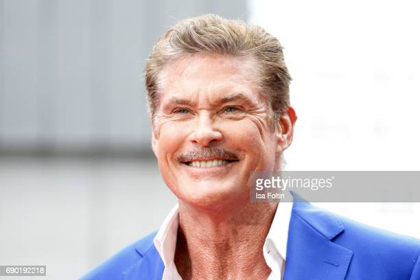 US actor David Hasselhoff attends the 'Baywatch' Photo Call in Berlin on May 30 2017 in Berlin Germany