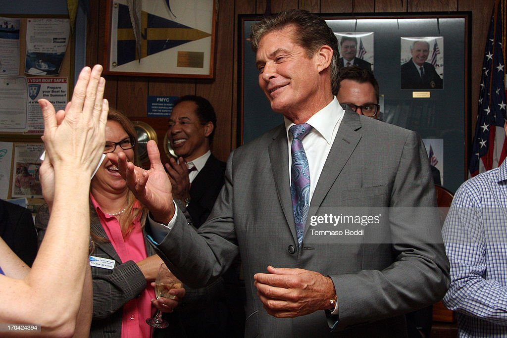 Actor David Hasselhoff attends the 'Chasing The Hill' reception held at the Pacific Mariners Yacht Club on June 12, 2013 in Marina del Rey, California.