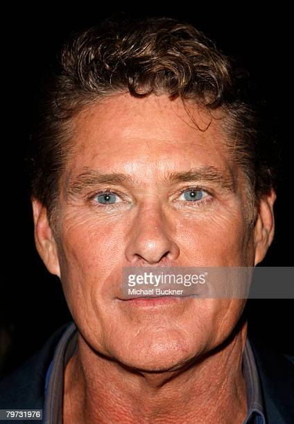 Actor David Hasselhoff attends the premiere of NBC's Knight Rider at the Playboy Mansion February 12 2008 in Los Angeles California