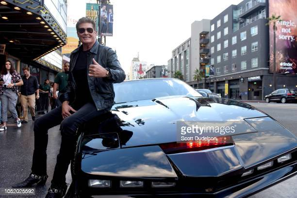 Actor David Hasselhoff attends the Strange 80's Benefit Concert in the original KITT car from the 1980's TV show Knight Rider at The Fonda Theatre on...