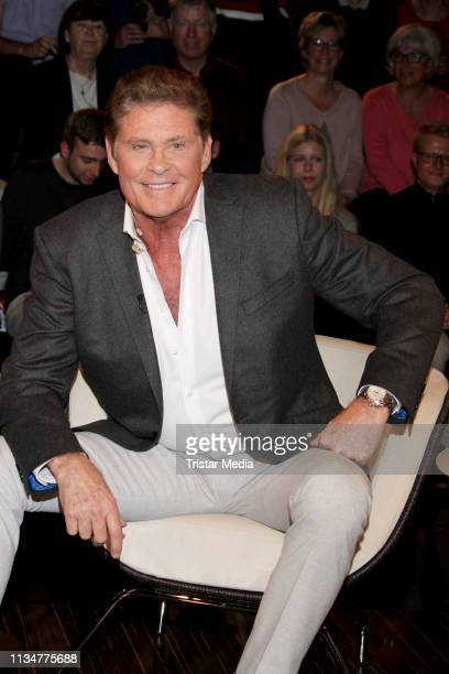 US actor David Hasselhoff during the Markus Lanz TV show on April 3 2019 in Hamburg Germany
