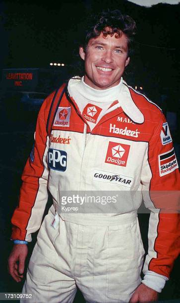 Actor David Hasselhoff in motor racing gear circa 1990