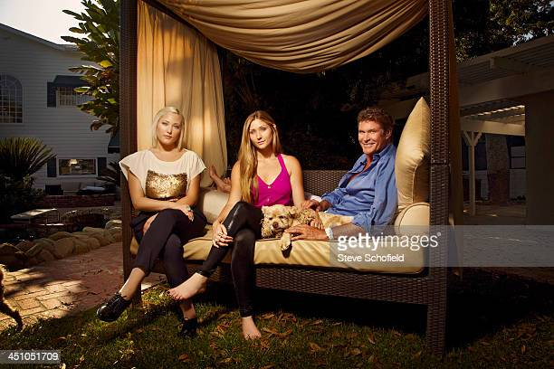 Actor David Hasselhoff is photographed at home with his daughters Hayley and Taylor Ann for the Sunday Times magazine on March 15 2012 in Carmel...