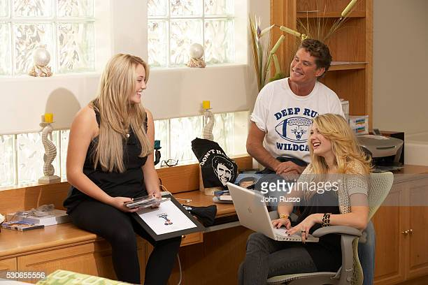 Actor David Hasselhoff is photographed with daughters Hayley Amber and TaylorAnn in 2006 at home