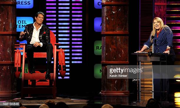 Actor David Hasselhoff looks on as comedian Lisa Lampanelli speaks onstage at the Comedy Central Roast Of David Hasselhoff held at Sony Pictures...