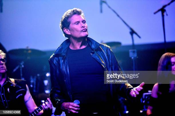 Actor David Hasselhoff performs onstage during the Strange 80's Benefit Concert at The Fonda Theatre on October 12 2018 in Los Angeles California