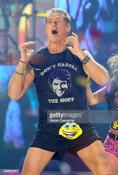 Actor David Hasselhoff performs with LMFAO onstage at the 2011 American Music Awards held at Nokia Theatre LA LIVE on November 20 2011 in Los Angeles...