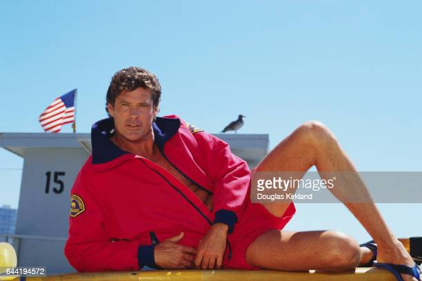 Actor David Hasselhoff plays lifeguard Mitch Buchannon on the television show 'Baywatch'
