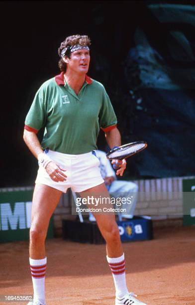 Actor David Hasselhoff plays tennis in 1986 in Los Angeles California