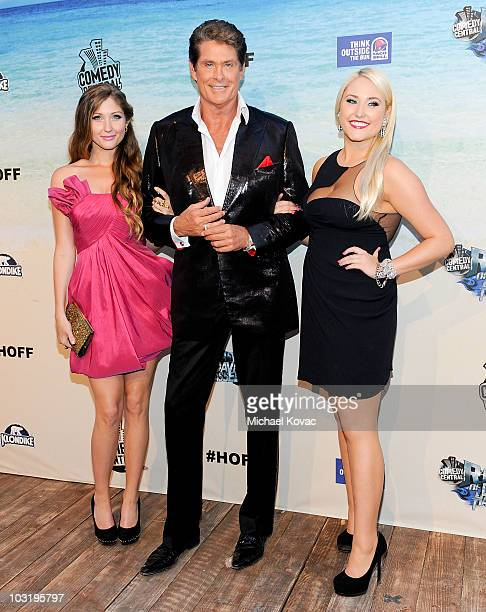 Actor David Hasselhoff poses with his daughters Taylor Ann Hasselhoff and Hayley Amber Hasselhoff as they arrive at the Comedy Central Roast Of David...