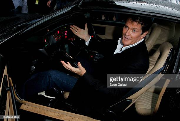 Actor David Hasselhoff sits in his KITT car from the seies Knight Rider while attending The Dome 55 on August 27 2010 in Hannover Germany