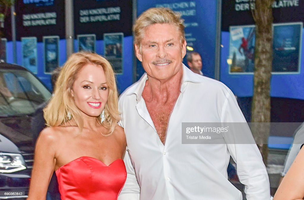 US actor David Hasselhoff with his partner Hayley Roberts during the Baywatch European Premiere Party on May 31, 2017 in Berlin, Germany.