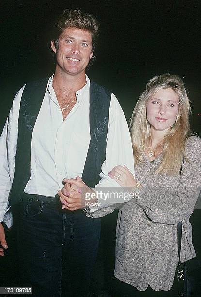 Actor David Hasselhoff with his wife actress Pamela Bach circa 1992