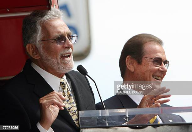 Actor David Hedison delivers a speech as British actor Sir Roger Moore is honored with a Star on the Hollywood Walk of Fame 11 October 2007 in...