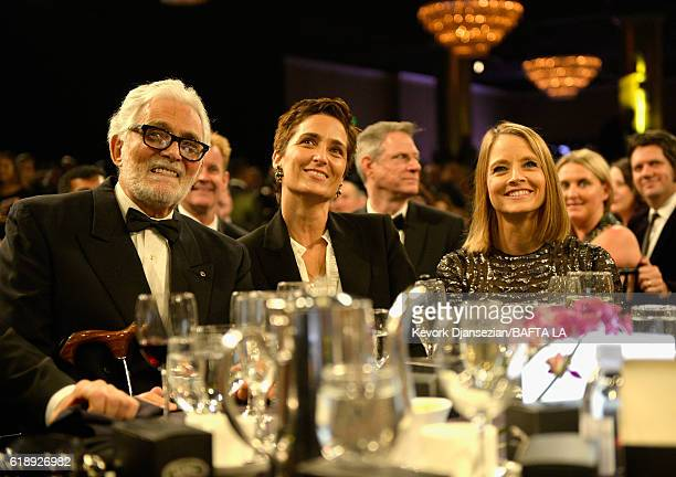Actor David Hedison, photographer/director Alexandra Hedison, and honoree Jodie Foster attend the 2016 AMD British Academy Britannia Awards presented...