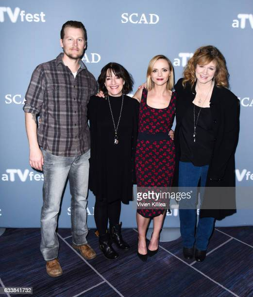 Actor David Hoflin Producer Nicole Yorkin Executive Producer Actress Christina Ricci and Producer Writer Dawn Prestwich attend a press junket for 'Z'...