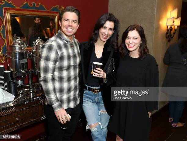 Actor David Hull producer Aline Brosh MKenna and actor Rachel Boom attend the 'Crazy ExGirlfriend 100th Song Celebration SingaLong' event during...