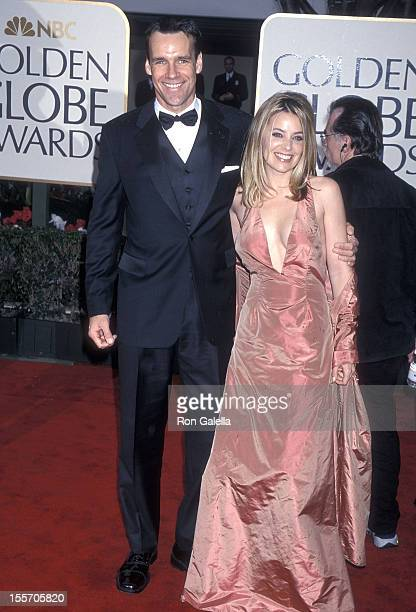Actor David James Elliott and wife Nanci Chambers attend the 57th Annual Golden Globe Awards on January 23 2000 at the Beverly Hilton Hotel in...