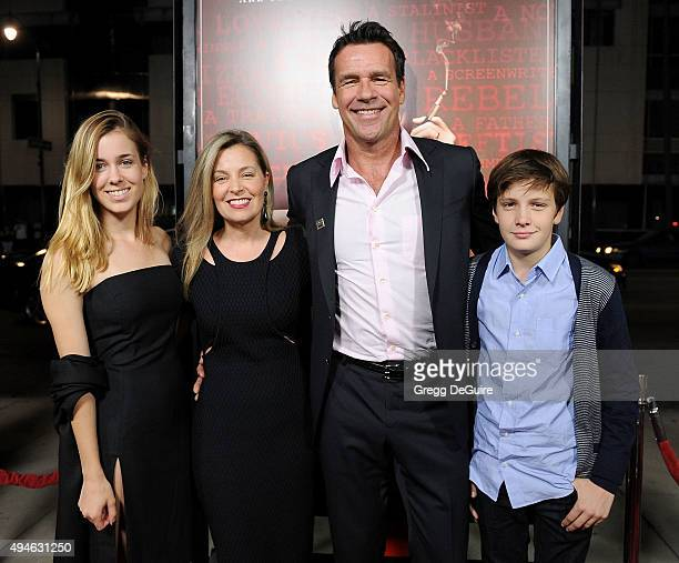 Actor David James Elliott wife Nanci Chambers daughter Stephanie Smith and son Wyatt Smith arrive at the premiere of Bleecker Street Media's Trumbo...