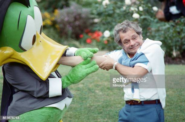 Actor David Jason pictured with Count Duckula at a Thames TV stars party 5th September 1988