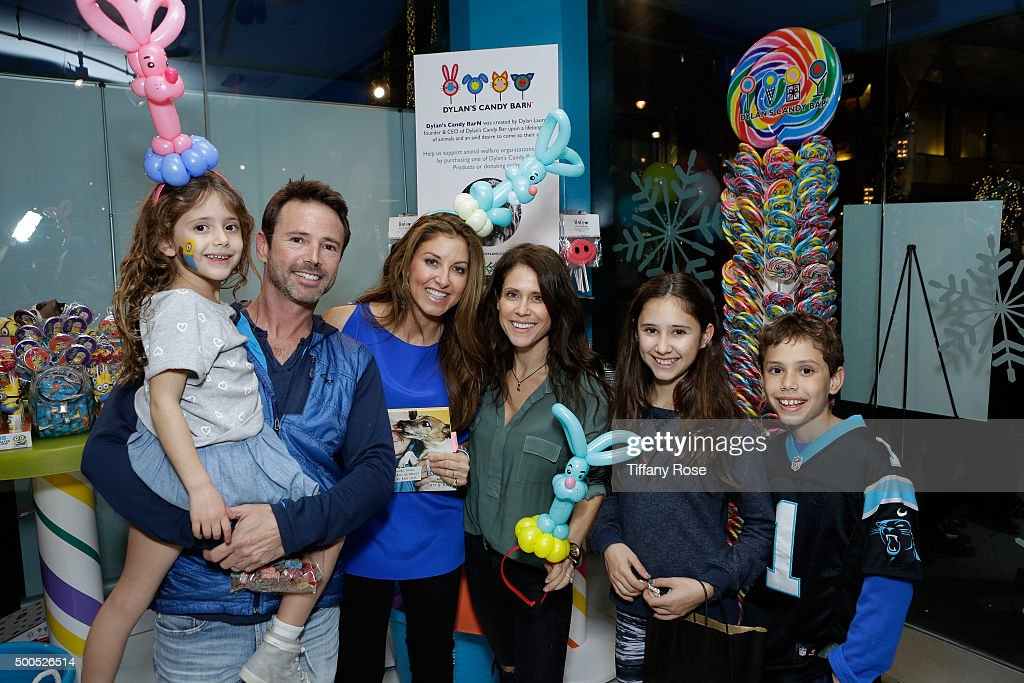 Actor David Lascher (2nd from L-R) and Dylan Lauren, founder and CEO of Dylan's Candy Bar with guests attend the Dylan's Candy BarN launch event at Dylan's Candy Bar on December 8, 2015 in Los Angeles, California.