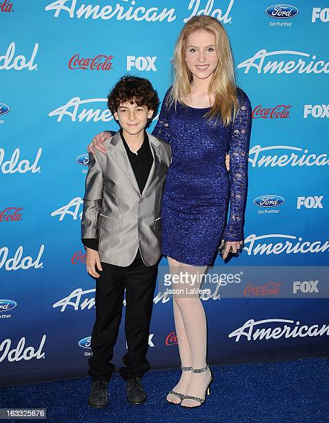 Actor David Mazouz and actress Saxon Sharbino attend the American Idol finalists event at The Grove on March 7 2013 in Los Angeles California