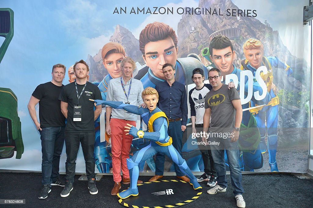 Actor David Menkin, production designer Ben Milsom, head writer Rob Hoegee, executive producer Giles Ridge, actors Rasmus Hardiker and Andres Williams of 'Thunderbirds are Go' attend the Amazon Village at San Diego Comic-Con at San Diego Convention Center on July 21, 2016 in San Diego, California.