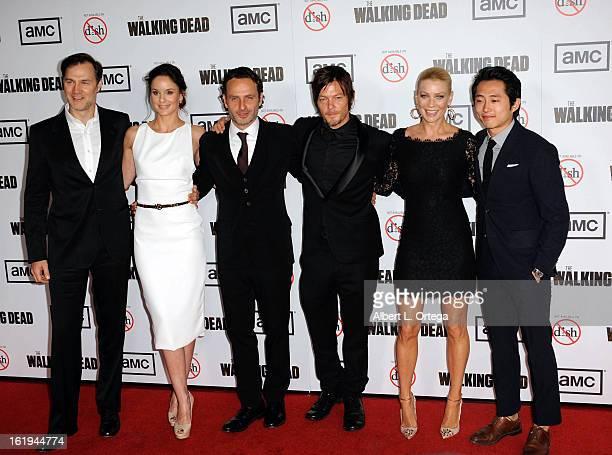 Actor David Morrissey, actress Sarah Wayne Callies, actor Andrew Lincoln, actor Norman Reedus, actress Laurie Holden and actor Steven Yuen arrive for...