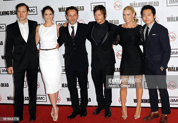 Actor David Morrissey actress Sarah Wayne Callies actor Andrew Lincoln actor Norman Reedus actress Laurie Holden and actor Steven Yuen arrive for...