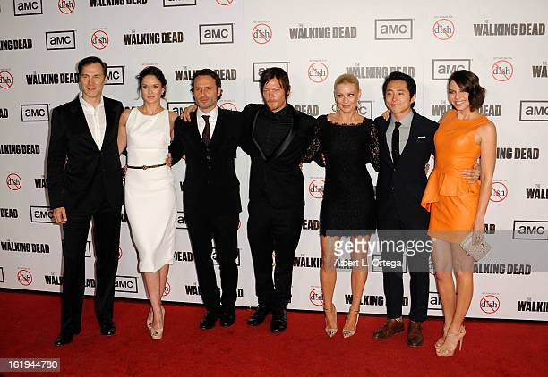 Actor David Morrissey, actress Sarah Wayne Callies, actor Andrew Lincoln, actor Norman Reedus, actress Laurie Holden, actor Steven Yuen and actress...