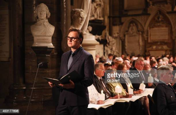 Actor David Morrissey delivers a speech during a candlelight vigil attended by the Duchess of Cornwall to mark the centenary of Britain's involvement...