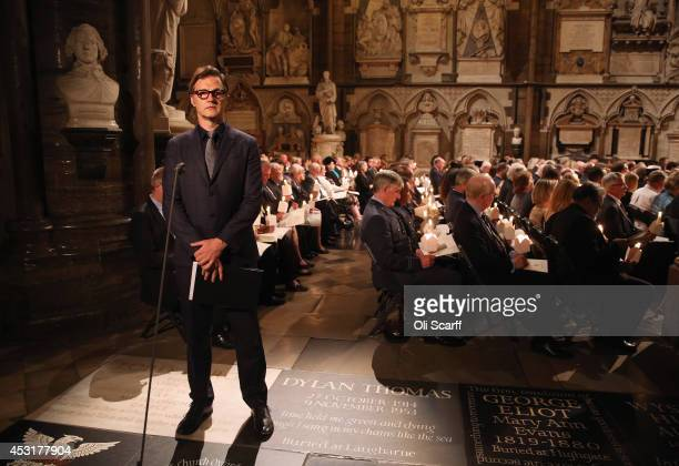 Actor David Morrissey looks on after he delivers a speech during a candlelight vigil attended by the Duchess of Cornwall to mark the centenary of...