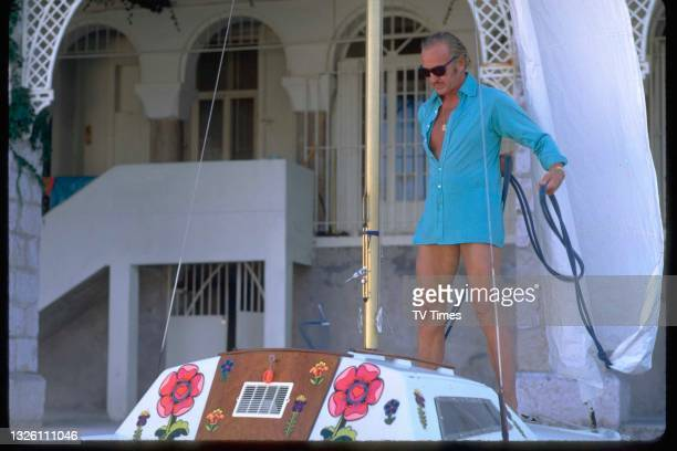 Actor David Niven photographed on a boat outside his villa in Saint-Jean-Cap-Ferrat, France, circa 1971.