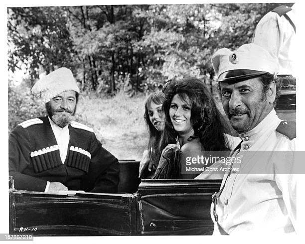 """Actor David Opatoshu Actress Lainie Kazan and actor Eli Wallach on set of the movie """"Romance of a Horsethief"""" in 1971."""