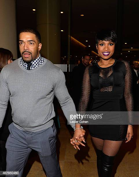 Actor David Otunga and recording artist/actress Jennifer Hudson attend the PreGRAMMY Gala and Salute to Industry Icons honoring Martin Bandier at The...