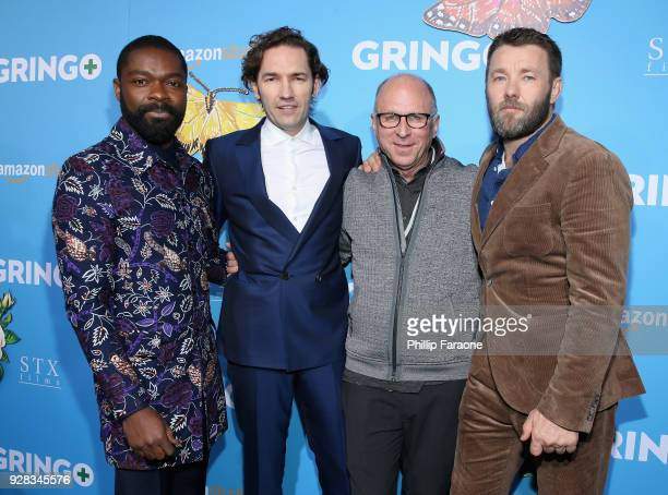Actor David Oyelowo director Nash Edgerton Amazon Studios Bob Berney and actor Joel Edgerton attend the world premiere of 'Gringo' from Amazon...