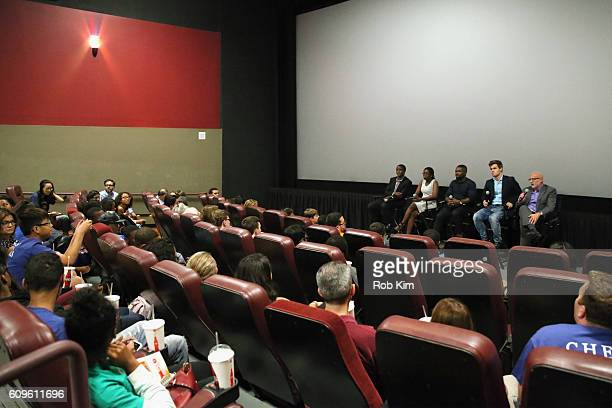 Actor David Oyelowo participates in a QUEEN OF KATWE Q&A with real life film subjects Robert Katende and Phiona Mutesi along with World Chess...
