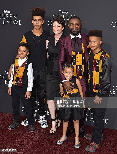 Actor David Oyelowo wife Jessica Oyelowo and family arrive at the premiere of Disney's 'Queen of Katwe' at the El Capitan Theatre on September 20...