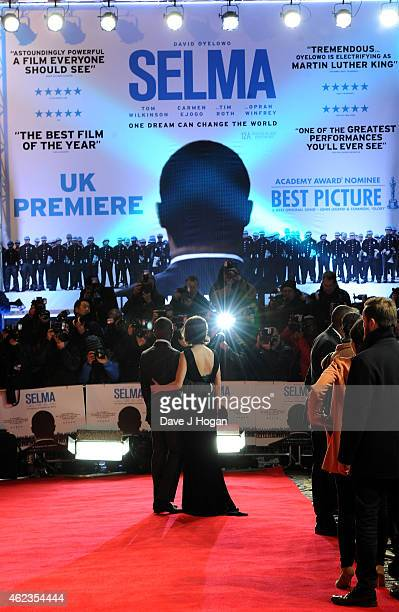 Actor David Oyelowo with his wife Jessica attend the European premiere of Selma at the Curzon Mayfair on January 27 2015 in London England